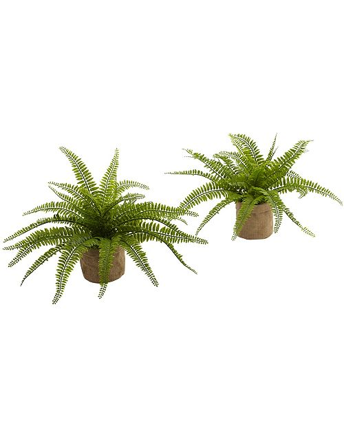 Nearly Natural Boston Fern w/Burlap Planter, Set of 2