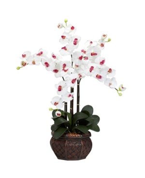 Nearly Natural Phalaenopsis w/Decorative Vase Silk Flower Arrangement