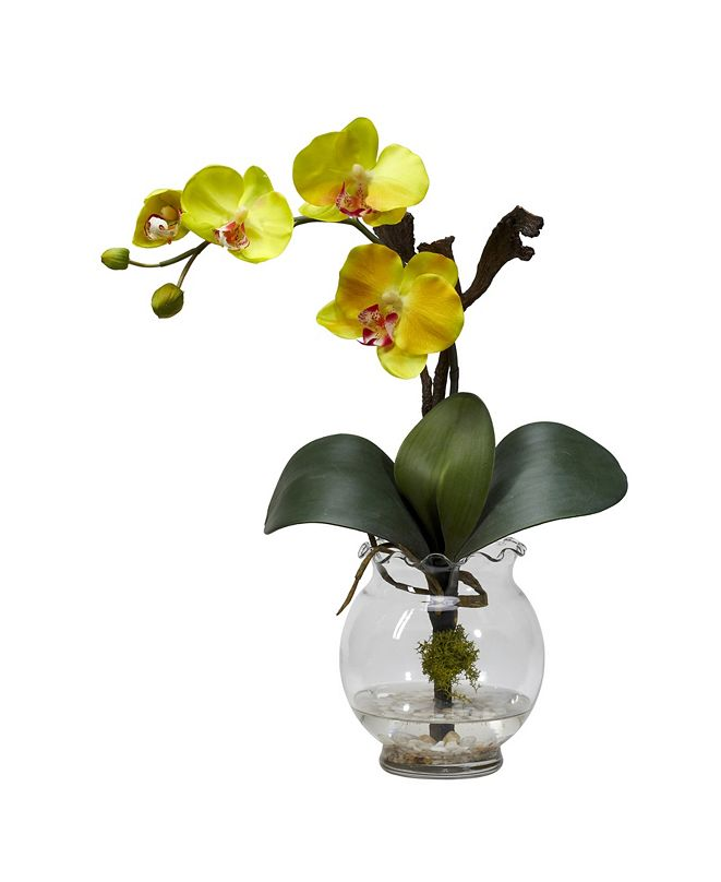 Nearly Natural Mini Phalaenopsis w/Fluted Vase Silk Flower Arrangement