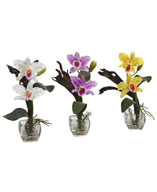 Nearly Natural Mini Cattleya Orchid Arrangement, Set of 3