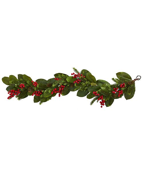 Nearly Natural 5' Magnolia Berry Pine Artificial Garland