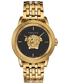 LIMITED EDITION Versace Men's Swiss Palazzo Empire Gold Ion-Plated Stainless Steel Bracelet Watch 43mm, Created for Macy's