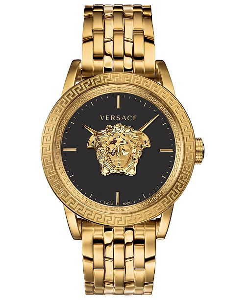 Versace LIMITED EDITION Men's Swiss Palazzo Empire Gold Ion-Plated Stainless Steel Bracelet Watch 43mm, Created for Macy's