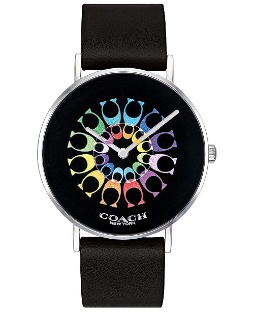 COACH Women's Perry Black Leather Strap Watch 36mm, Created for Macy's