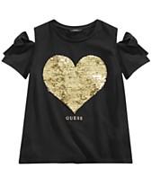 510b058c372a5 GUESS Big Girls Reversible Sequin Cold Shoulder T-Shirt