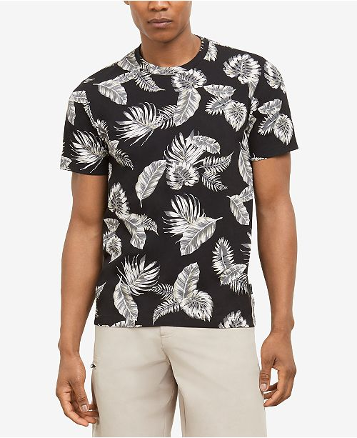 Kenneth Cole Men's Tropical Leaves Graphic T-Shirt