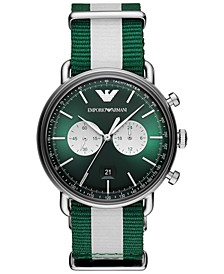 Men's Chronograph Green & White Nylon Strap Watch 43mm