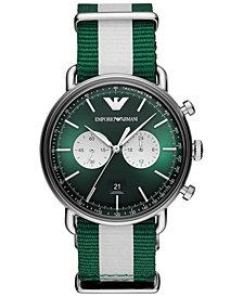 Emporio Armani Men's Chronograph Green & White Nylon Strap Watch 43mm