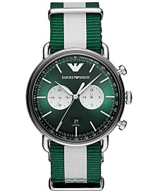 Emporio Armani Men's Chronograph Green & White Nylon Strap Watch 43mm