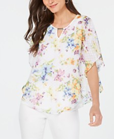NY Collection Petite Floral Poncho Top