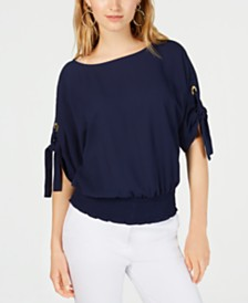 MICHAEL Michael Kors Petite Tie-Sleeve Top, in Regular & Petite