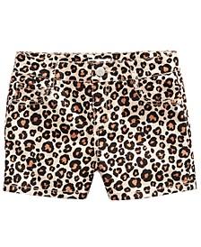 Big Girls Leopard-Print Denim Shorts, Created for Macy's