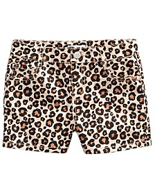 Epic Threads Big Girls Leopard-Print Denim Shorts, Created for Macy's