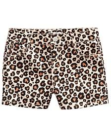 Epic Threads Big Girls Leopard-Print Denim Shorts, Created for Macy's