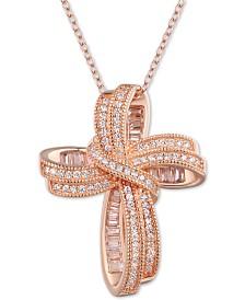 "Tiara Cubic Zirconia Fancy Cross 18"" Pendant Necklace"