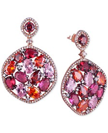 Tiara Cubic Zirconia Multicolor Mosaic Drop Earrings in 14k Rose Gold-Plated Sterling Silver