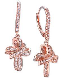 Tiara Cubic Zirconia Cross Dangle Drop Earrings