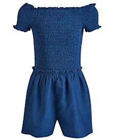 Epic Threads Big Girls Smock-Top Cotton Romper, Created for Macy's