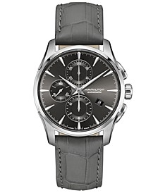 Swiss Automatic Chronograph Jazzmaster Gray Leather Strap Watch 42mm, Created for Macy's