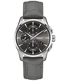 LIMITED EDITION Hamilton Swiss Automatic Chronograph Jazzmaster Gray Leather Strap Watch 42mm, Created for Macy's