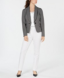 Shawl-Lapel Printed-Jacket Pant Suit