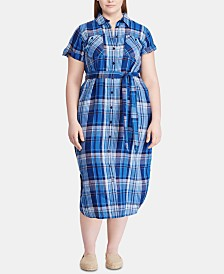 Lauren Ralph Lauren Plus Size Belted Linen Shirtdress