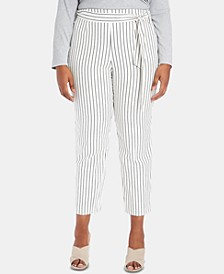 Plus Size Striped Tie-Waist Tapered-Leg Pants