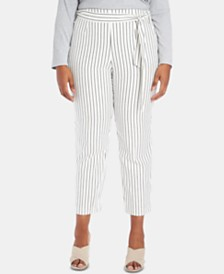 1.STATE Plus Size Striped Tie-Waist Tapered-Leg Pants