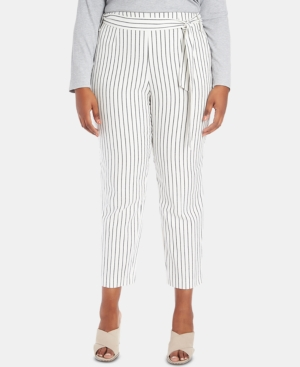 Image of 1.state Plus Size Striped Tie-Waist Tapered-Leg Pants