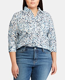Lauren Ralph Lauren Plus Size Straight-Fit Cotton Shirt