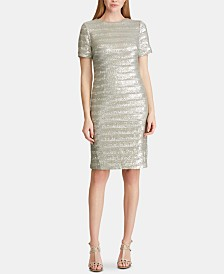 Lauren Ralph Lauren Striped Sequined Mesh Dress