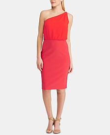 Lauren Ralph Lauren Chiffon Jersey One-Shoulder Dress