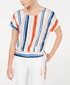 BCX Juniors' Side-Tie Striped Short-Sleeve Top