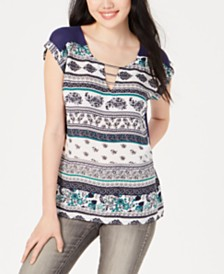 BCX Juniors' Printed-Front Hardware-Accent Blouse