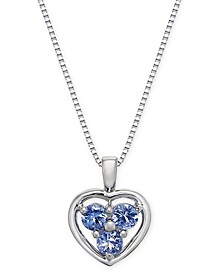 "Tanzanite Heart Cluster 18"" Pendant Necklace (1/3 ct. tw.) in 14k White Gold"