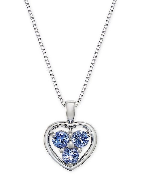 "Macy's Tanzanite Heart Cluster 18"" Pendant Necklace (1/3 ct. tw.) in 14k White Gold"