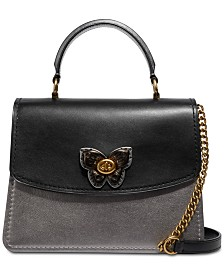 COACH Butterfly Turnlock Metallic Blocked Exotic Parker Top Handle