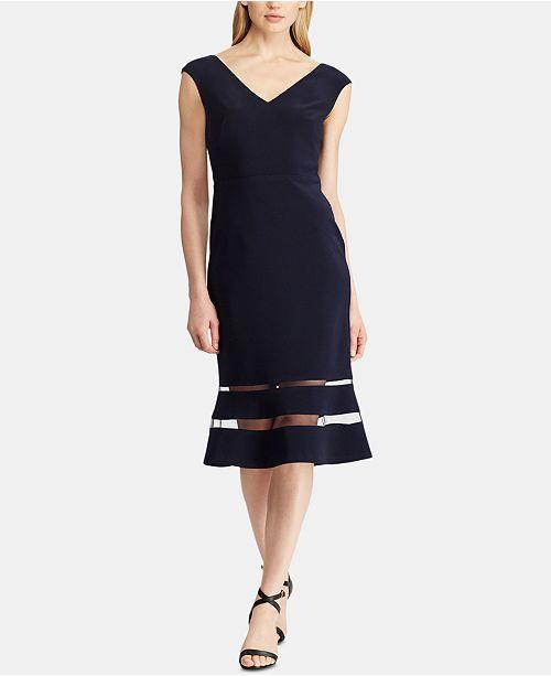 Lauren Ralph Lauren Tulle-Trim Jersey Midi Dress