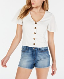 American Rag Juniors' Textured Crop Top, Created for Macy's