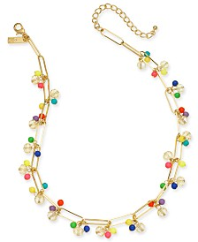 "I.N.C. Gold-Tone Bead Cluster Statement Necklace, 18"" + 3"" extender, Created for Macy's"