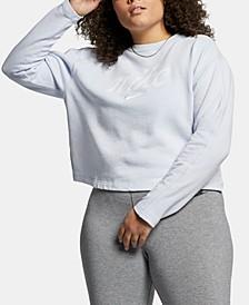 Plus Size Sportswear Cotton Cropped Sweatshirt