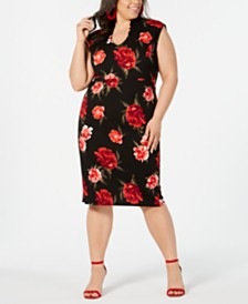 Almost Famous Trendy Plus Size Printed Sheath Dress