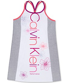 Calvin Klein Performance Big Girls Colorblocked Braided-Back Tank Dress
