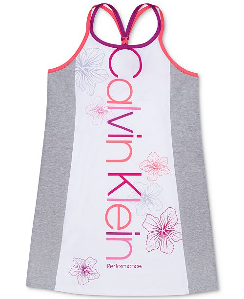 Calvin Klein Big Girls Colorblocked Braided-Back Tank Dress