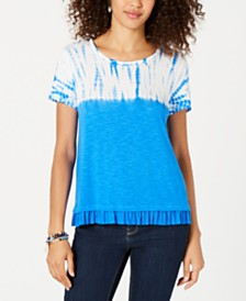 Style & Co Petite Tie Dye & Ruffle-Hem T-Shirt, Created for Macy's