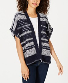 Style & Co Mixed-Knit Fringe-Trim Cardigan, Created for Macy's
