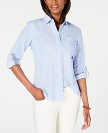 Tommy Hilfiger Roll-Tab Button-Down Shirt, Created for Macy's