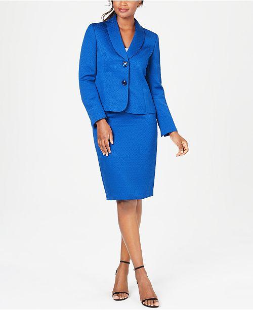 Le Suit Two-Button Shawl-Collar Skirt Suit