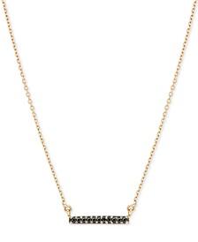 "Black Diamond Accent Dash Pendant Necklace in 14k Gold, 15"" + 1"" Extender"