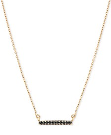 """Elsie May Black Diamond Accent Dash Pendant Necklace in 14k Gold, 15"""" + 1"""" Extender"""